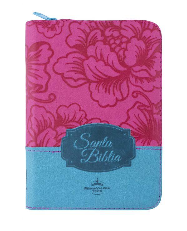 Biblia Reina Valera 1960, tapa bicolor fucsia azul, cierre e índice